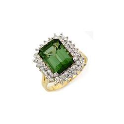4.75 ctw Green Tourmaline & Diamond Ring 14K Yellow Gold