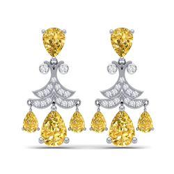10.41 ctw Canary Citrine & VS Diamond Earrings 18K White Gold