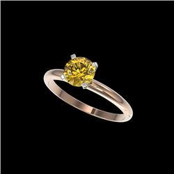 1.04 ctw Certified Intense Yellow Diamond Engagement Ring 10K Rose Gold