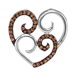 10kt White Gold Round Brown Diamond Curled Double Heart Pendant 1/4 Cttw