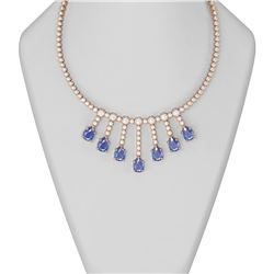 35.77 ctw Tanzanite & Diamond Necklace 18K Rose Gold