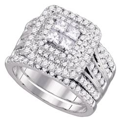 14kt White Gold Princess Diamond Cluster Halo Bridal Wedding Engagement Ring Band Set 2.00 Cttw