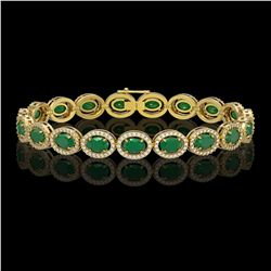 15.2 ctw Emerald & Diamond Micro Pave Halo Bracelet 10K Yellow Gold