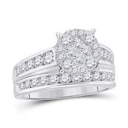 14kt White Gold Princess Diamond Bridal Wedding Engagement Ring Band Set 1.00 Cttw