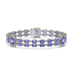 16.96 ctw Tanzanite & Diamond Bracelet 14K White Gold
