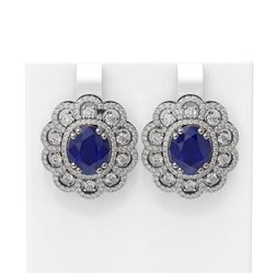 12.21 ctw Sapphire & Diamond Earrings 18K White Gold
