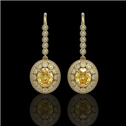 7.65 ctw Canary Citrine & Diamond Victorian Earrings 14K Yellow Gold