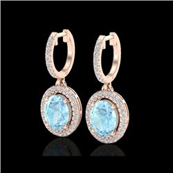 3.25 ctw Aquamarine & Micro Pave VS/SI Diamond Earrings 14K Rose Gold