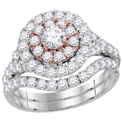 14kt White Gold Round Diamond Double Halo Bridal Wedding Engagement Ring Band Set 2-1/3 Cttw