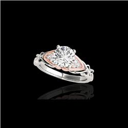 1.1 ctw Certified Diamond Solitaire Ring 10K White & Rose Gold