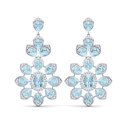 53.34 ctw Sky Topaz & VS Diamond Earrings 18K White Gold