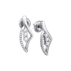10kt White Gold Round Diamond 3-Stone Vertical Stud Earrings 1/3 Cttw