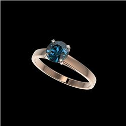 1.08 ctw Certified Intense Blue Diamond Engagement Ring 10K Rose Gold