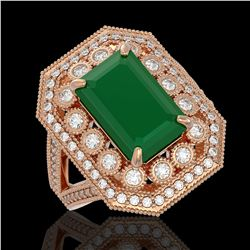 7.11 ctw Certified Emerald & Diamond Victorian Ring 14K Rose Gold