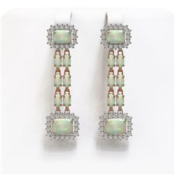8.26 ctw Opal & Diamond Earrings 14K Rose Gold