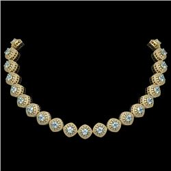 72.27 ctw Aquamarine & Diamond Victorian Necklace 14K Yellow Gold