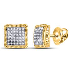 10kt Yellow Gold Round Pave-set Diamond Square Cluster Milgrain Earrings 1/4 Cttw