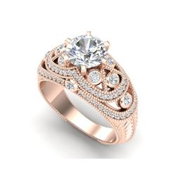 2 ctw VS/SI Diamond Solitaire Art Deco Ring 18K Rose Gold
