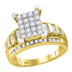 10kt Yellow Gold Round Diamond Cindys Dream Cluster Bridal Wedding Engagement Ring 1-1/2 Cttw
