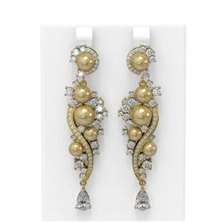 5.13 ctw Diamond and Pearl Earrings 18K Yellow Gold