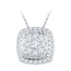 10kt White Gold Round Diamond Square Cluster Fashion Pendant 1/2 Cttw