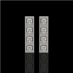 5.31 ctw Princess Cut Diamond Micro Pave Earrings 18K White Gold