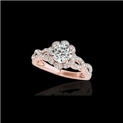 1.69 ctw Certified Diamond Solitaire Halo Ring 10K Rose Gold