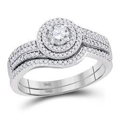 10kt White Gold Round Diamond Bridal Wedding Engagement Ring Band Set 5/8 Cttw