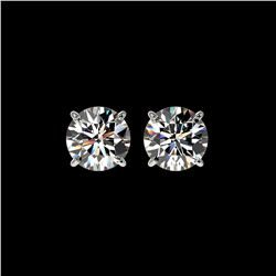 1.97 ctw Certified Quality Diamond Stud Earrings 10K White Gold