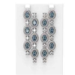 18.36 ctw Aquamarine & Diamond Earrings 18K White Gold