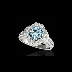 2.81 ctw SI Certified Fancy Blue Diamond Halo Ring 10K White Gold