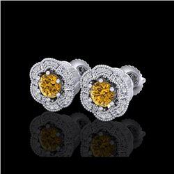 1.51 ctw Intense Fancy Yellow Diamond Art Deco Earrings 18K White Gold