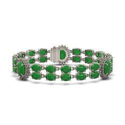 33.27 ctw Jade & Diamond Bracelet 14K White Gold