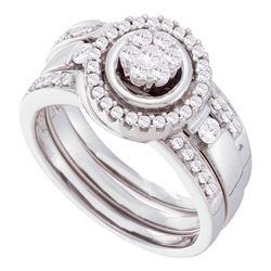 14kt White Gold Diamond Cluster 3-Piece Bridal Wedding Engagement Ring Band Set 1/2 Cttw