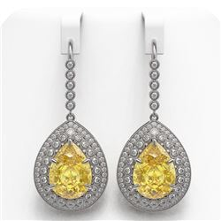 33.92 ctw Canary Citrine & Diamond Victorian Earrings 14K White Gold