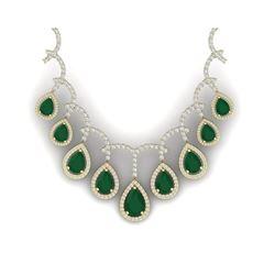 31.5 ctw Emerald & VS Diamond Necklace 18K Yellow Gold