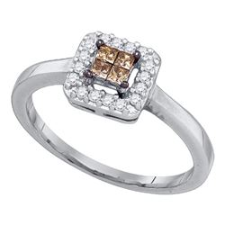 10kt White Gold Princess Brown Diamond Square Cluster Halo Ring 1/4 Cttw