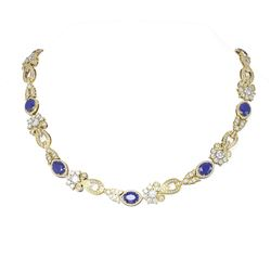 38.89 ctw Sapphire & Diamond Necklace 18K Yellow Gold