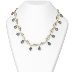 32.37 ctw Blue Topaz & Diamond Necklace 18K Yellow Gold