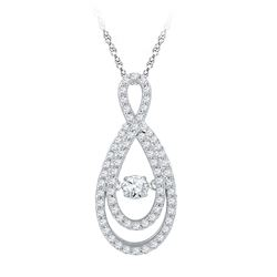 10kt White Gold Round Diamond Moving Twinkle Solitaire Teardrop Pendant 3/4 Cttw