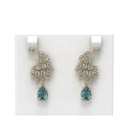 13.77 ctw Aquamarine & Diamond Earrings 18K Yellow Gold