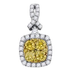 14kt White Gold Round Yellow Diamond Cluster Square Frame Pendant 1.00 Cttw