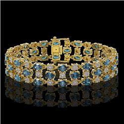 16.06 ctw London Topaz & Diamond Row Bracelet 10K Yellow Gold