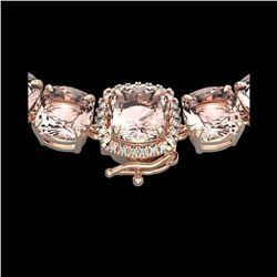 87 ctw Morganite & Diamond Micro Pave Necklace 14K Rose Gold