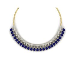 51.75 ctw Sapphire & VS Diamond Necklace 18K Yellow Gold