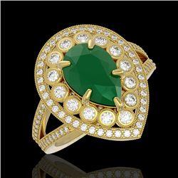 5.12 ctw Certified Emerald & Diamond Victorian Ring 14K Yellow Gold