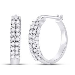 10kt White Gold Round Pave-set Diamond Huggie Hoop Earrings 1/4 Cttw