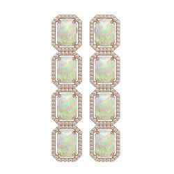12.99 ctw Opal & Diamond Micro Pave Halo Earrings 10K Rose Gold