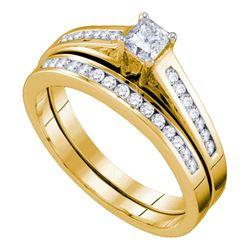 14kt Yellow Gold Princess Diamond Bridal Wedding Engagement Ring Band Set 1/2 Cttw