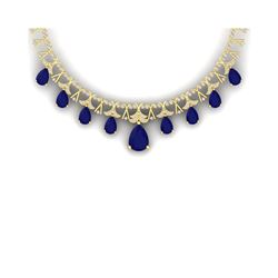 56.94 ctw Sapphire & VS Diamond Necklace 18K Yellow Gold
